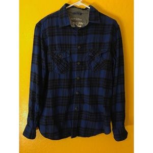 Massimo supply Co. blue and Black flannel